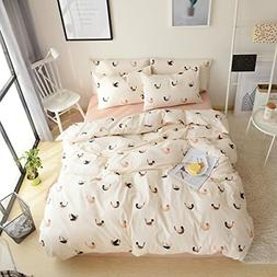 VM VOUGEMARKET 100% Cotton Birds Duvet Cover Set Twin,3 Piec