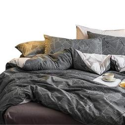 VM VOUGEMARKET 100% Cotton Grey Duvet Cover Set Queen, 3 Pie