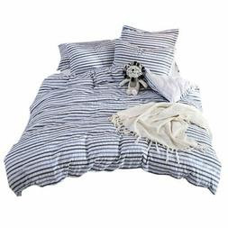 Merryfeel 100% cotton woven Seersucker Stripe Duvet Cover -