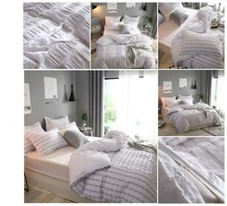 100% cotton Yarn Dyed Duvet Cover Set Queen Grey Bedsure Sty