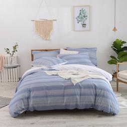 Merryfeel 100% cotton yarn dyed Stripe Duvet Cover Set Queen