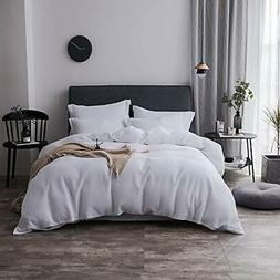 100% Duvet Cover Sets Cotton Waffle Weave - Full/Queen White