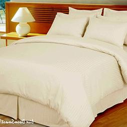 1000 Thread Count Egyptian Cotton  KING Size, IVORY Stripe,
