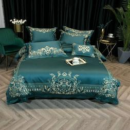 1000TC Egyptian Cotton Embroidery Bedding Set Duvet Cover Be