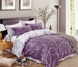 200TC 100% Cotton Duvet Cover Set Purple White Modern Printe