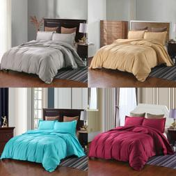 3 Pcs Duvet Cover Set Pillow Shams Zippered Soft Hypoallerge
