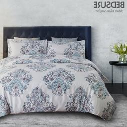 Bedsure Damask Floral Duvet Cover Set Grey Duvet Cover Zippe