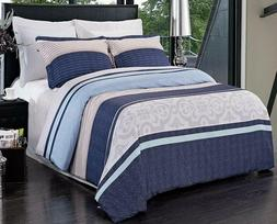 3 Piece Full Queen Size Microfiber Striped Reversible Duvet
