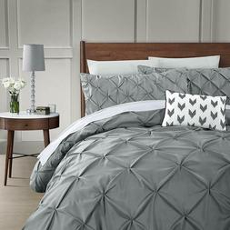 3 Piece Pinch Pleat Pintuck Duvet Cover Set 1800TC Polyester