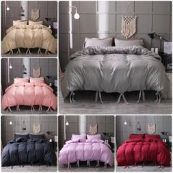 Solid Tie Strap Duvet Cover Comforter Bedding Bed Pillowcase