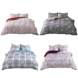 3 Pieces Floral Duvet Cover Set Pillow Shams Washed Cotton 4