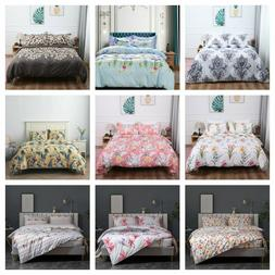 3 Pieces Floral Printed Duvet Cover Bedding Set King Queen S