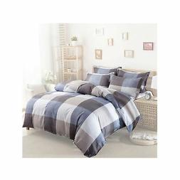 Uozzi Bedding 3 Pieces Plaid Duvet Cover Set Queen Hypoaller