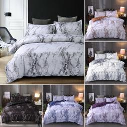 3 Pieces Marble Printed Comforter / Duvet Cover Set Queen Ki