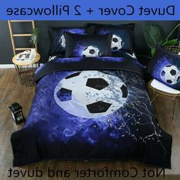 3D Football Soccer Duvet Cover Sport Kids Bedding Set Pillow