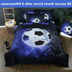 3D Football Duvet Quilt Cover Soccer Bedding Set Pillowcase