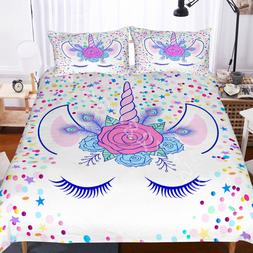3D Kids Flowers Unicorn Eye Bedding Set Duvet Cover Comforte
