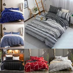 3Pcs Duvet Cover Set Printed Soft Comforter Cover w/ Pillow