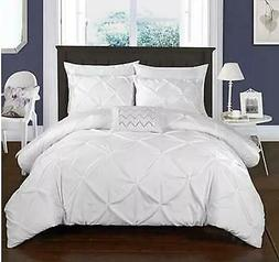 Chic Home 4 Piece Daya Pinch Pleated Complete Duvet Cover Se