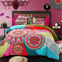 4 Pieces Home Bedding Set Full/Queen Cotton Duvet Cover Set