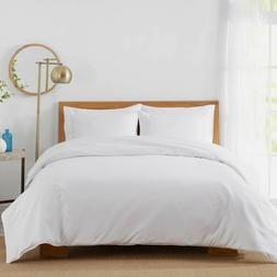 450-Thread-Count King Cotton Sateen Duvet Cover Set In White
