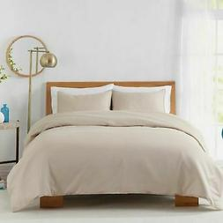 BBY 450TC Cotton Sateen Duvet Cover Set - Sand - Size: Full/