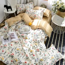 4pcs Flowers Bedding Sets White Floral and Brown Polka Dot <