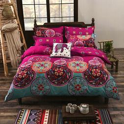 Hot 4 Pieces Bedding Set Ethnic Totems Print Duvet Cover Fla