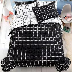 5 Pieces Microfiber Duvet Cover Set Reversible Bedding Set K