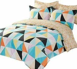 5 Pieces Reversible Microfiber Pattern Ultra Soft Duvet Cove