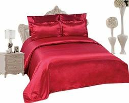 6 PCS Duvet Cover Set, Supreme Quality Sexy Silky Satin,Duve