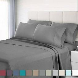 6 Piece Bedroom Bed Sheet Set 2100 Thread Count Luxury Comfo