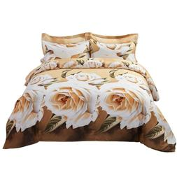 6 Piece King size Duvet Cover Set Fitted Sheet Luxury Beddin