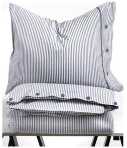 Beautiful White and Blue Striped Pattern Duvet Cover and Pil