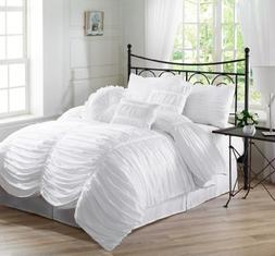 Chezmoi Collection 7-Piece Chic Ruched Duvet Cover Set, Quee