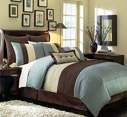 Chezmoi Collection 8-Piece Luxury Stripe Duvet Cover Set, Bl