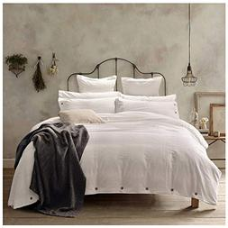 Doffapd Duvet Cover King, Washed Cotton Duvet Cover Set - 3