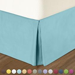 Pleated Bed-Skirt Full Size – Light Blue  Luxury Double Br