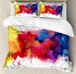 Ambesonne Abstract Duvet Cover Set Queen Size, Vibrant Stain