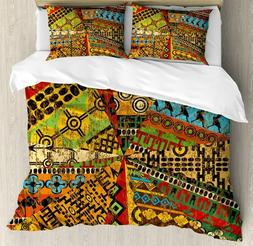 Ambesonne African Duvet Cover Set Queen Size, Grunge Collage