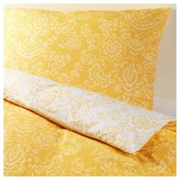Ikea AKERTISTEL Duvet Cover Yellow/White Pattern Reversible