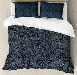 Ambesonne Navy and Teal Duvet Cover Set, Abstract Flourish N