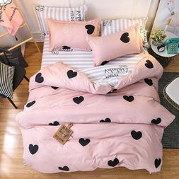 American Style Bedding Set AB Side Bed Linens Pink Duvet Cov