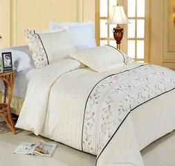Anna 100% Cotton Duvet Cover 3-Piece Embroidered Duvet Cover