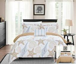 Azure 4 Piece Reversible Duvet Cover Set Life in The Sea The
