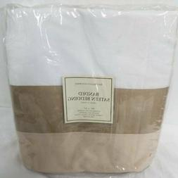banded sateen duvet cover taupe