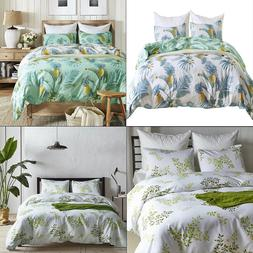 Bedding Duvet Cover Floral Printed Reversible Pintuck Comfor