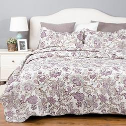 Bedding Quilt Set Luxury Bedroom Bedspread Pastoral Floral P