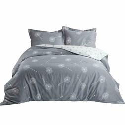 Bedsure 100% Cotton Duvet Cover Queen Size Set, Grey/White R