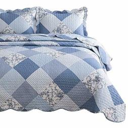 Bedsure 3-Piece Printed Quilt Set Queen/Full Size , Blue Flo